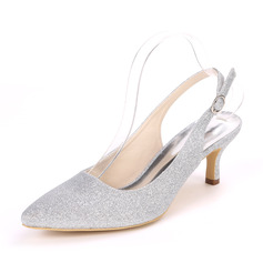 Women's Sparkling Glitter Stiletto Heel Pumps Slingbacks With Buckle