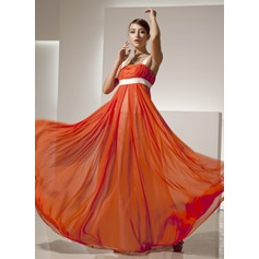 Empire Square Neckline Floor-Length Chiffon Prom Dress With Ruffle Sash