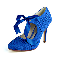 Women's Satin Stiletto Heel Pumps With Ribbon Tie