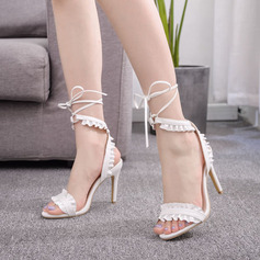 Kids' Leatherette Stiletto Heel Peep Toe Platform Sandals Slingbacks With Ribbon Tie Ruffles Ruched Hollow-out Lace-up