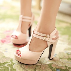 Women's Leatherette Chunky Heel Sandals With Buckle Hollow-out shoes (087114610)