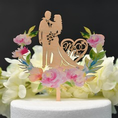 Classic Couple/Bride And Groom/Sweet Love Wood Cake Topper (Sold in a single piece)