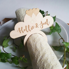 Personalized Cloud Pattern Wooden Napkin Rings