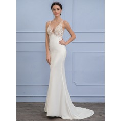 Empire V-neck Sweep Train Satin Lace Wedding Dress