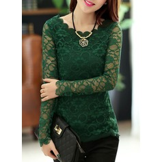 Lace Long Sleeves Lace Round Neck Casual Blouses Blouses (1003160256)