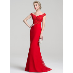 Trumpet/Mermaid Off-the-Shoulder Sweep Train Chiffon Lace Prom Dresses With Beading Sequins (018112724)