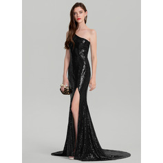 Sheath/Column One-Shoulder Court Train Sequined Evening Dress