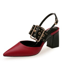 Women's Leatherette Chunky Heel Sandals Closed Toe With Buckle Hollow-out shoes (085207626)
