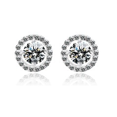 Nice Zircon/Platinum Plated Ladies' Earrings
