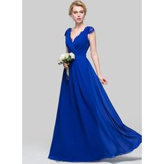 A-Line/Princess V-neck Floor-Length Chiffon Bridesmaid Dress With Ruffle (007090176)