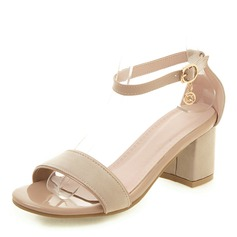 Women's Leatherette Chunky Heel Sandals Pumps Peep Toe With Buckle shoes (087207009)