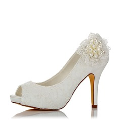 Women's Mesh Stiletto Heel Platform Pumps With Imitation Pearl