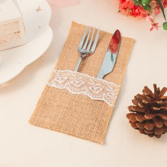Linen Cutlery Bag With Lace  (051074919)