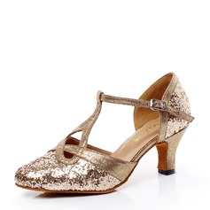 Women's Sparkling Glitter Heels Ballroom With T-Strap Hollow-out Dance Shoes