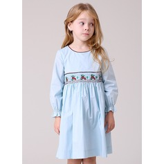 Short/Mini Flower Girl Dress - Polyester/Cotton Blends 3/4 Sleeves Scoop Neck