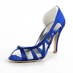 Women's Satin Stiletto Heel Peep Toe Sandals With Hollow-out