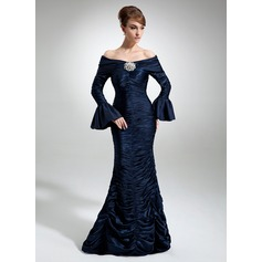 Trumpet/Mermaid Off-the-Shoulder Floor-Length Charmeuse Mother of the Bride Dress With Ruffle Crystal Brooch