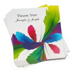 Personalized Feather Paper Thank You Cards