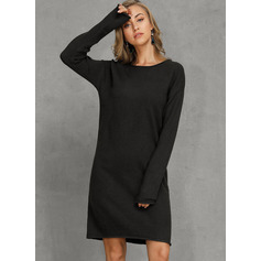 Solid Polyester Round Neck Pullovers Sweater Dresses Sweaters (1002223251)