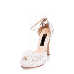 Women's Lace Stiletto Heel Peep Toe Platform Sandals Beach Wedding Shoes