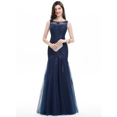 Trumpet/Mermaid Scoop Neck Floor-Length Tulle Lace Evening Dress With Beading Sequins (017105897)