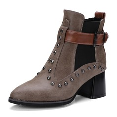 Women's Leatherette Chunky Heel Boots Mid-Calf Boots Martin Boots With Rivet Buckle Elastic Band shoes