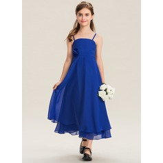 Empire Square Neckline Ankle-Length Chiffon Junior Bridesmaid Dress With Ruffle Flower(s)