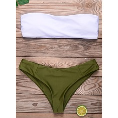 Sexy Solid Color Bandeau Triangle Polyester Spandex Bikinis Swimsuit