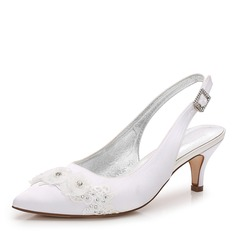 Women's Silk Like Satin Low Heel Closed Toe Slingbacks With Applique Pearl