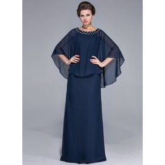 Sheath/Column Scoop Neck Floor-Length Chiffon Mother of the Bride Dress With Beading