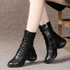 Women's Leatherette Boots Sneakers Modern Jazz Sneakers Dance Boots With Lace-up Dance Shoes