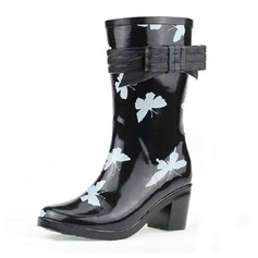 Rubber Chunky Heel Mid-Calf Boots Rain Boots With Bowknot shoes