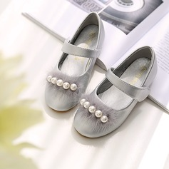 Girl's Round Toe Closed Toe Microfiber Leather Flat Heel Flats Flower Girl Shoes With Stitching Lace Velcro pompom