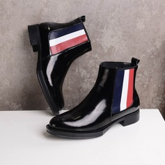 Women's Patent Leather Flat Heel Ankle Boots Martin Boots With Split Joint shoes