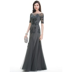 Trumpet/Mermaid Square Neckline Floor-Length Tulle Evening Dress