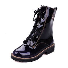 Women's Patent Leather Chunky Heel Boots Mid-Calf Boots Martin Boots With Lace-up shoes (088146309)
