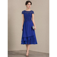 Scoop Neck Tea-Length Chiffon Lace Mother of the Bride Dress (267196647)