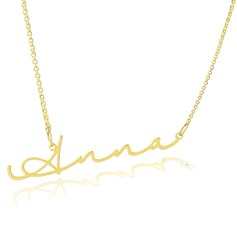 Custom 18k Gold Plated Silver Signature Name Necklace - Valentines Gifts