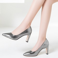 Women's Real Leather Chunky Heel Pumps Closed Toe shoes (085116218)