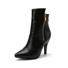 Women's Leatherette Stiletto Heel Closed Toe Ankle Boots With Zipper shoes