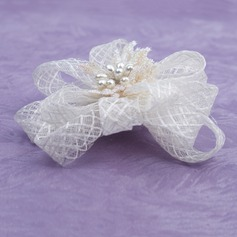 Gorgeous Imitation Pearls/Net Yarn Fascinators