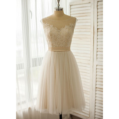 Knee-Length Tulle Lace Wedding Dress (265213109)