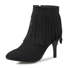 Women's Suede Stiletto Heel Closed Toe Boots Ankle Boots With Zipper Tassel shoes