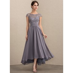 A-Line/Princess Scoop Neck Asymmetrical Chiffon Lace Mother of the Bride Dress (008164106)
