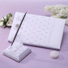 Classic Faux Pearl/Rhinestones Guestbook & Pen Set