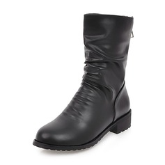 Women's PU Chunky Heel Closed Toe Boots Mid-Calf Boots With Zipper shoes
