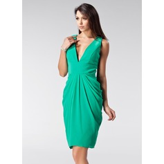 Sheath/Column V-neck Knee-Length Chiffon Holiday Dress With Ruffle (020036586)