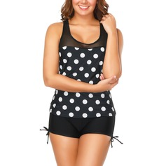 Dot U Neck Tankini Swimsuit