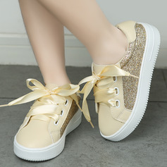 Girl Sneakers Leatherette Sneakers & Athletic With Sequin Lace-up