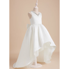 Ball-Gown/Princess Sweep Train Flower Girl Dress - Satin Sleeveless V-neck With Beading